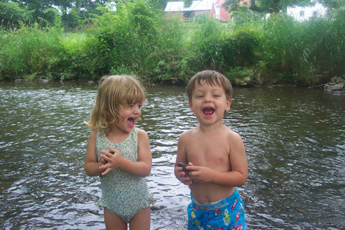 photo of kids in West Branch of Perkiomen Creek