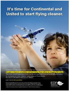 Advertisement against American airlines, United and Continental airlines