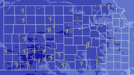 Kansas wind potential with existing and new wind projects