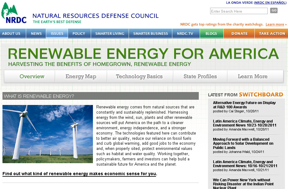 Screenshot of Renewables for America website