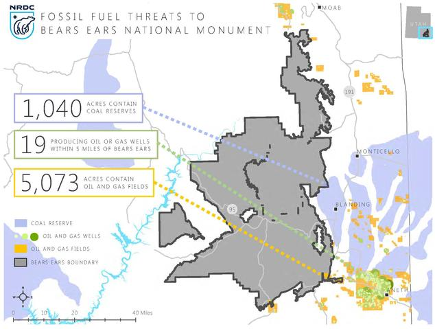 A map of fossil fuels in and around Bears Ears National Monument