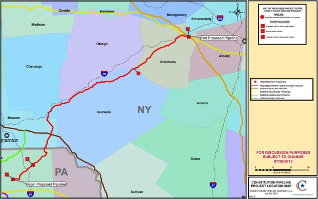 Proposed path of Constitution Pipeline                Source https