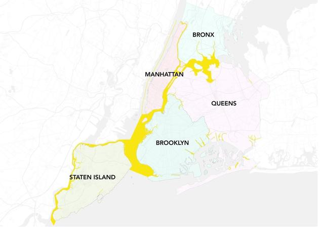 Map of relevant New York City waterways. Yellow line in Hudson River indicates that NY side of river is included.