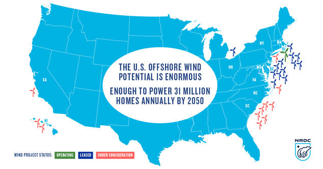 Made In America First US Offshore Wind Project Now Online NRDC - Map of wind farms in us