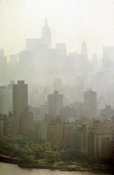 New York City veiled in smog in 1973